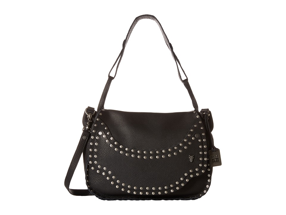 Frye - Nikki Nail Head Flap Crossbody (Black Soft Tumbled Full Grain) Cross Body Handbags
