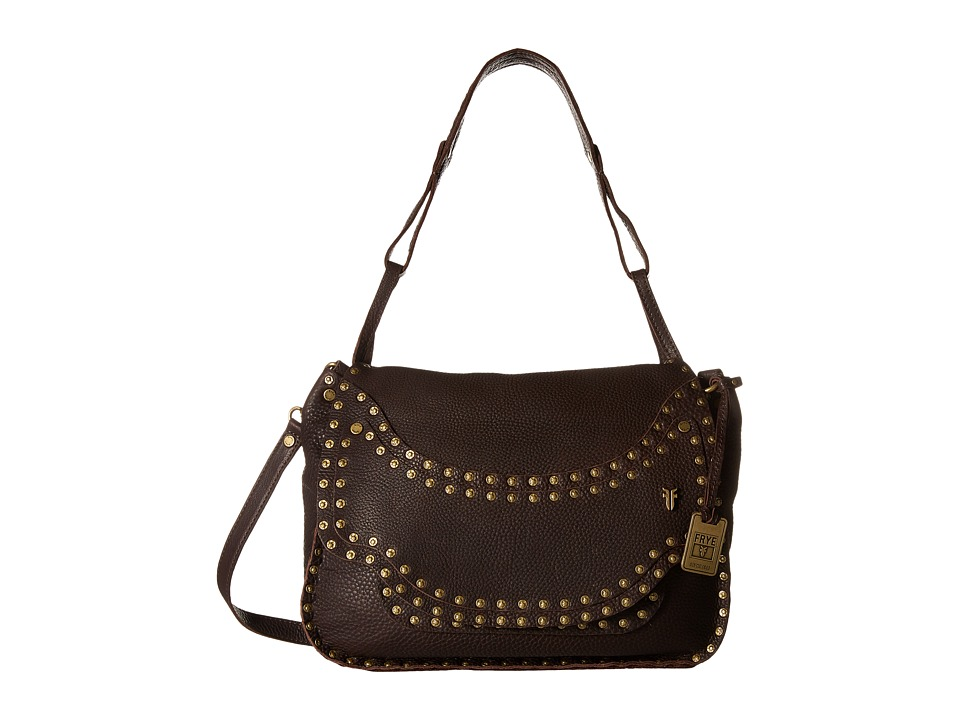Frye - Nikki Nail Head Flap Crossbody (Dark Brown Soft Tumbled Full Grain) Cross Body Handbags