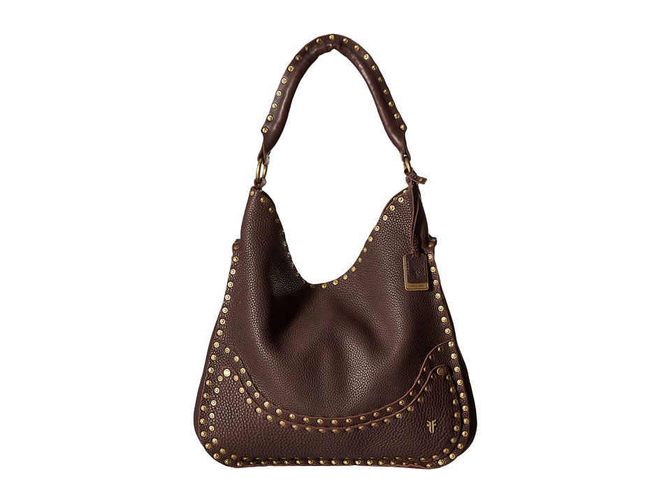 Frye - Nikki Nail Head Hobo (Dark Brown Soft Tumbled Full Grain) Hobo Handbags