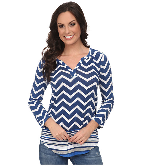 Lucky Brand - Chevron Stripe Henley (Blue Multi) Women's T Shirt