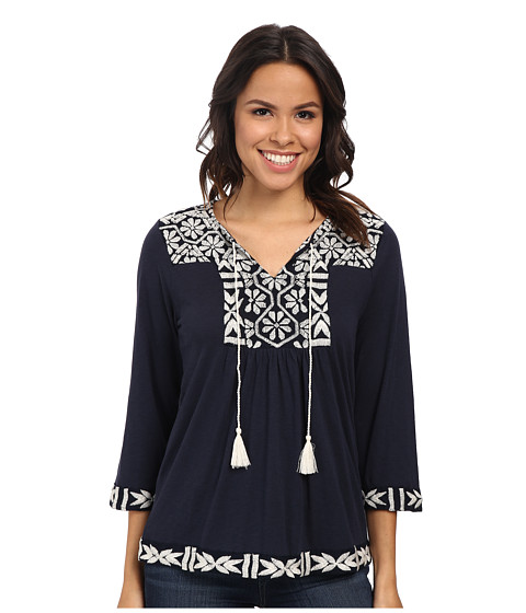 Lucky Brand - Embroidered Peasant Top (American Navy) Women's Blouse