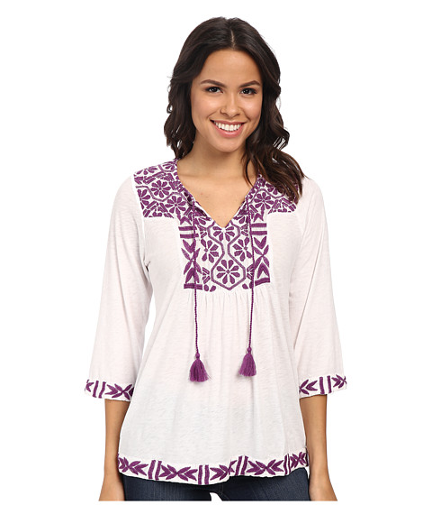 Lucky Brand - Embroidered Peasant Top (Lucky White) Women's Blouse