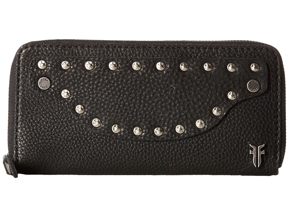 Frye - Nikki Nail Head Large Wallet (Black Soft Tumbled Full Grain) Wallet Handbags