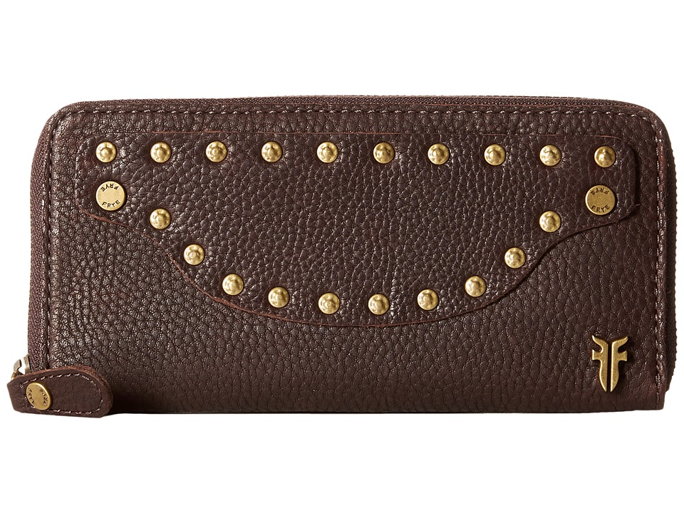 Frye - Nikki Nail Head Large Wallet (Dark Brown Soft Tumbled Full Grain) Wallet Handbags