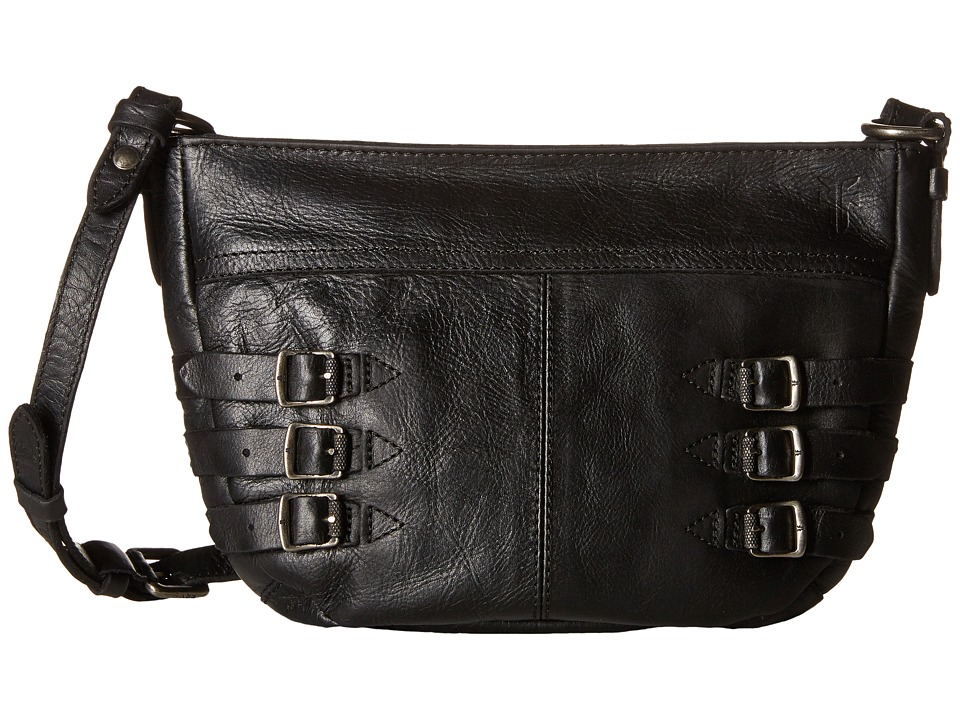 Frye - Selena Belted Crossbody (Black Vintage Leather) Cross Body Handbags