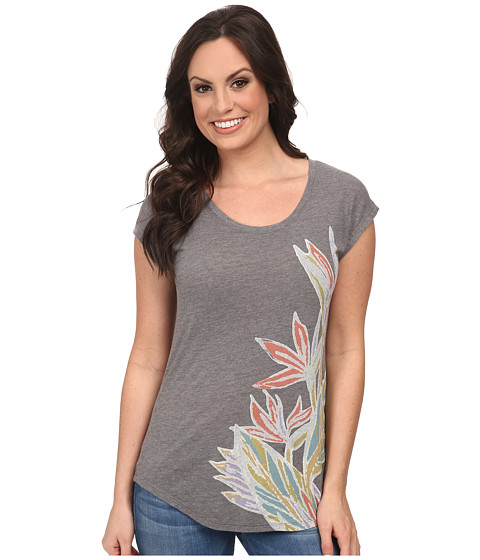 Lucky Brand - Tropical Paradise Tee (Heather Grey) Women's T Shirt