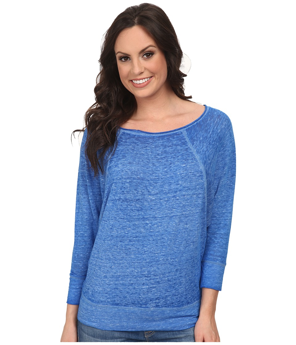 Lucky Brand - Solid Burnout Top (Victoria Blue) Women's Clothing