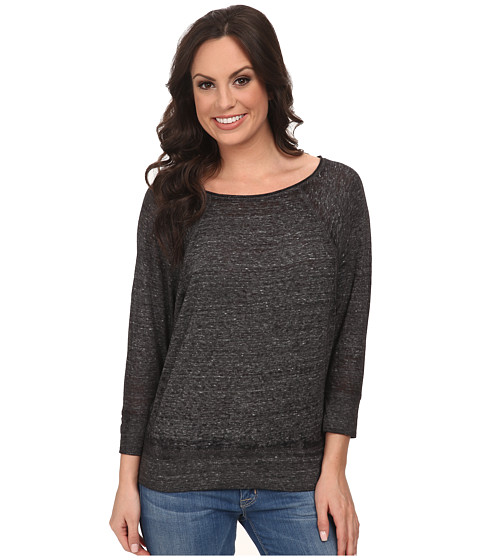 Lucky Brand - Solid Burnout Top (Charcoal) Women's Clothing