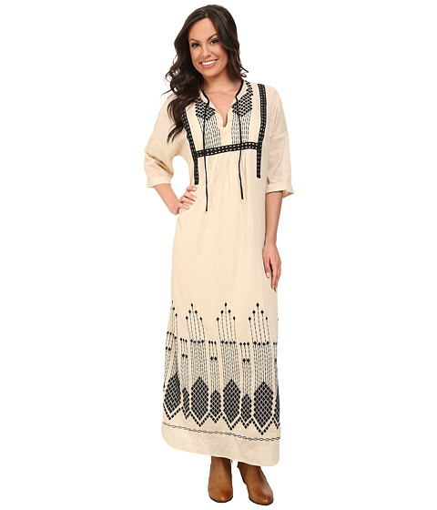 Lucky Brand - Embroidered Maxi Dress (Natural Multi) Women's Dress