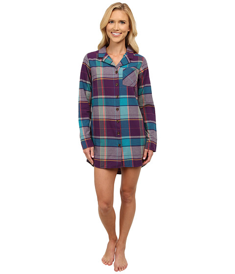 Life is good - Sleep Button Up Shirt (Smoky Plum) Women's Long Sleeve Button Up
