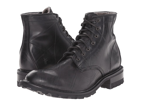 Frye - Arkansas Rubber Lace Up (Black Recycled Rubber/Shearling Lined) Men