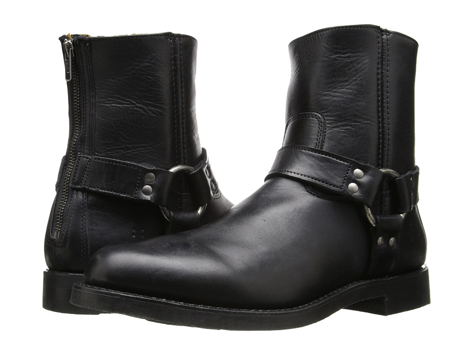 Frye Clinton Harness Back Zip (Black Oiled Vintage) Men