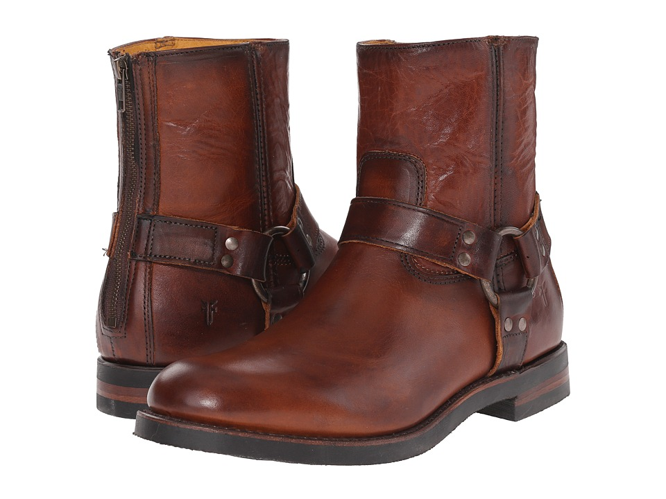 Frye Clinton Harness Back Zip (Cognac Oiled Vintage) Men