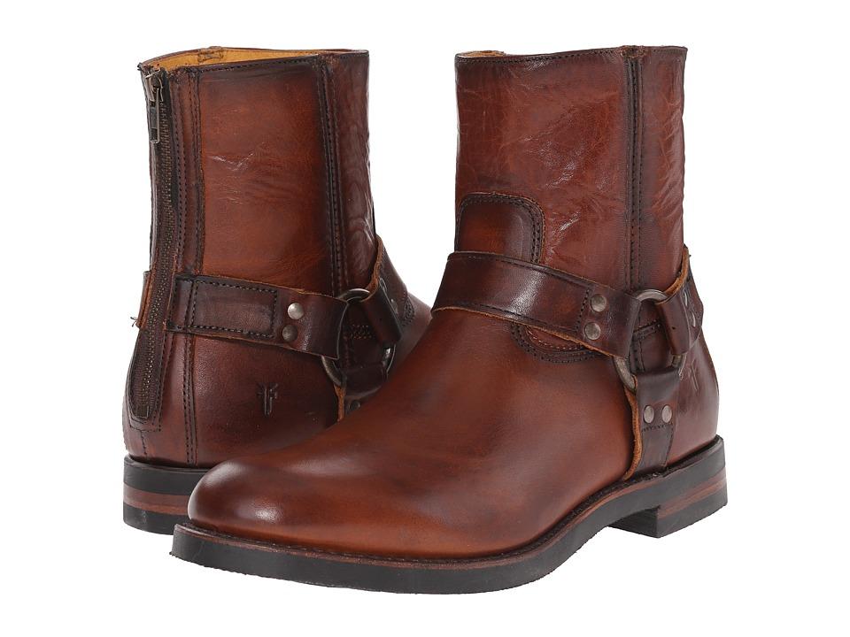 Frye Clinton Harness Back Zip Cognac Oiled Vintage Mens Zip Boots
