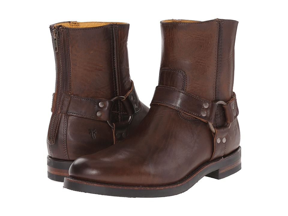 Frye Clinton Harness Back Zip (Dark Brown Oiled Vintage) Men