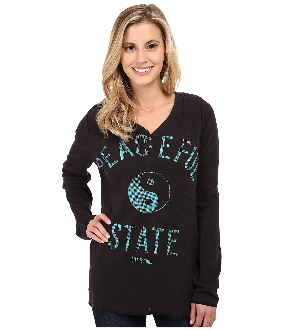 Life is good - Henley Sleep Long Sleeve (Night Black) Women's Long Sleeve Pullover