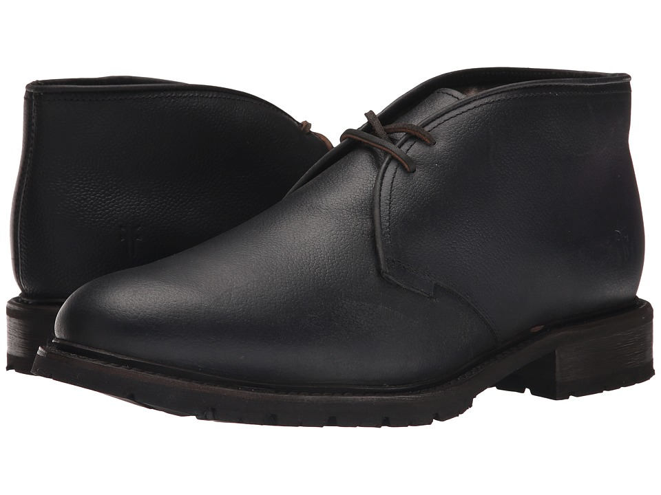 Frye James Lug Chukka Shearling (Black WP Soft Pebbled Full Grain) Men