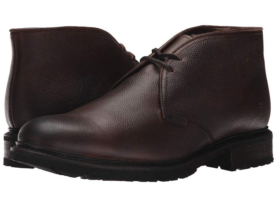 Frye - James Lug Chukka Shearling (Dark Brown WP Soft Pebbled Full Grain) Men's Lace-up Boots