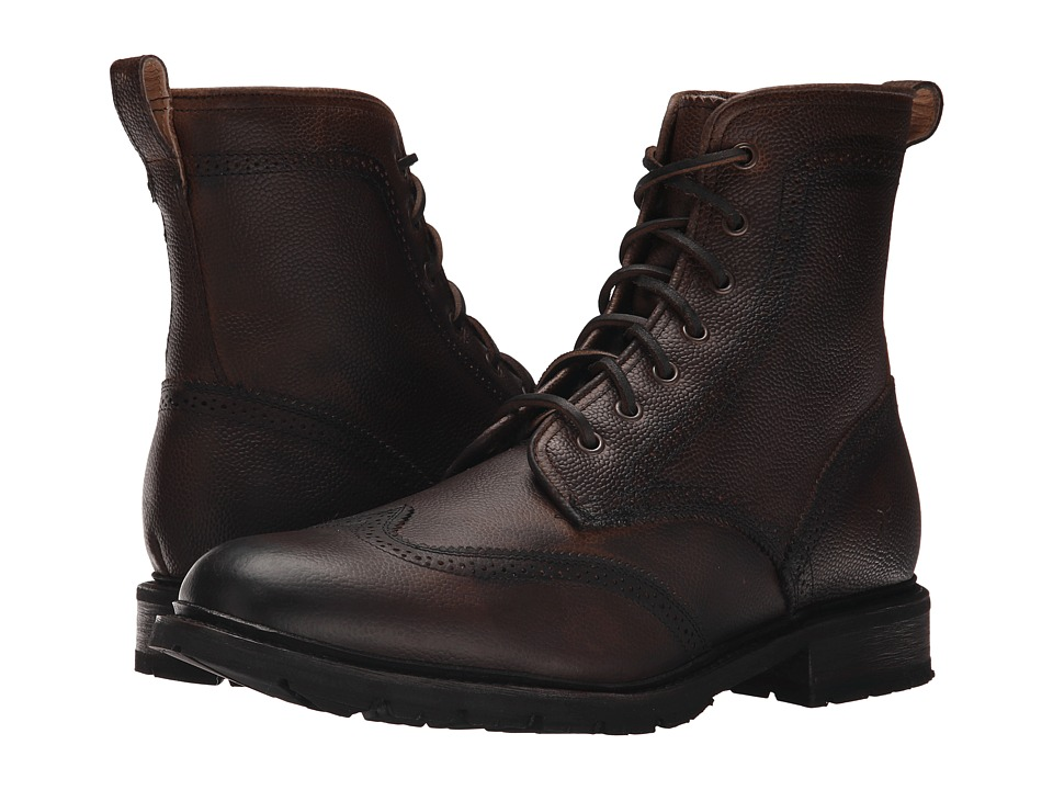 Frye James Lug Wingtip Boot (Dark Brown WP Soft Pebbled Full Grain) Men