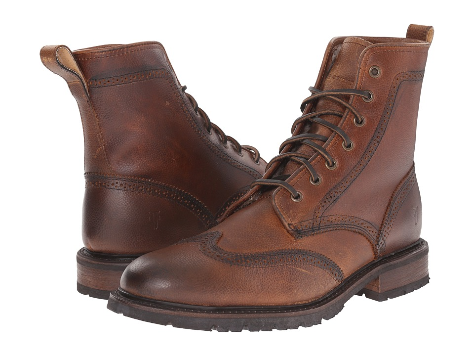 Frye James Lug Wingtip Boot (Whiskey WP Soft Pebbled Full Grain) Men
