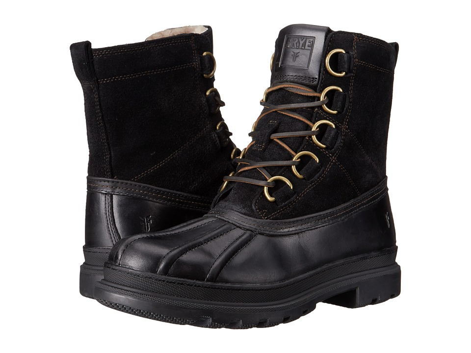Frye - Riley D Ring Lace (Black WP Smooth Pull Up) Men's Lace-up Boots