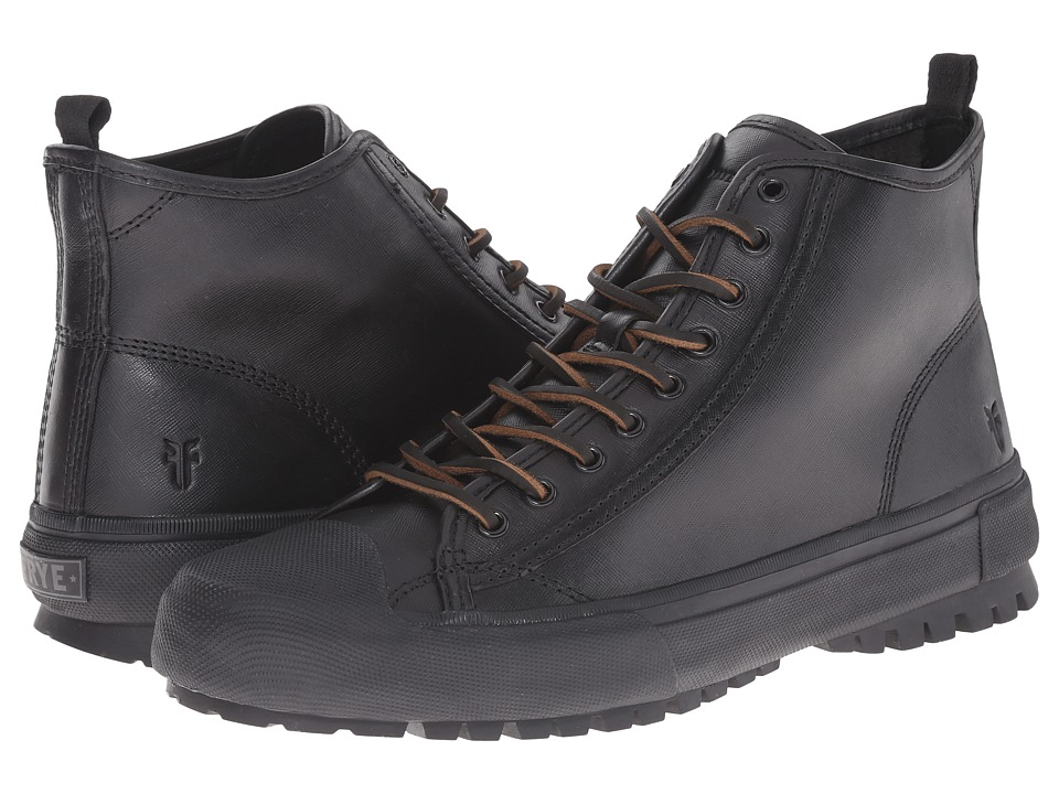 Frye Ryan Lug Mid Lace (Black WP Textured Smooth Pull Up) Men