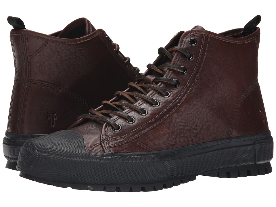 Frye - Ryan Lug Mid Lace (Brown WP Textured Smooth Pull Up) Men's Lace-up Boots