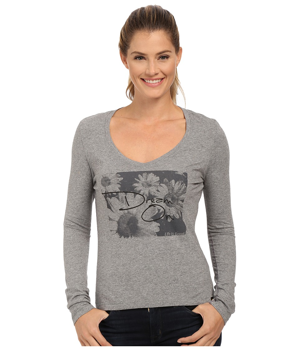 Life is good - Newbury Long Sleeve Tee (Heather Gray) Women's Long Sleeve Pullover