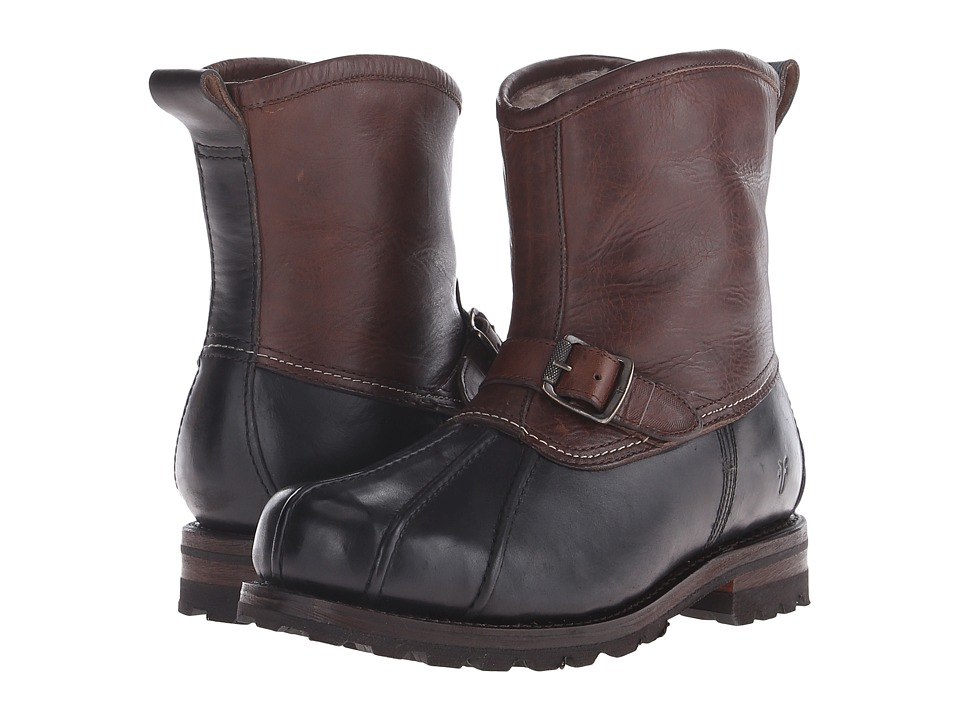 Frye - Warren Duck Engineer (Black Multi WP Smooth Pull Up/Shearling Lined) Men's Pull-on Boots