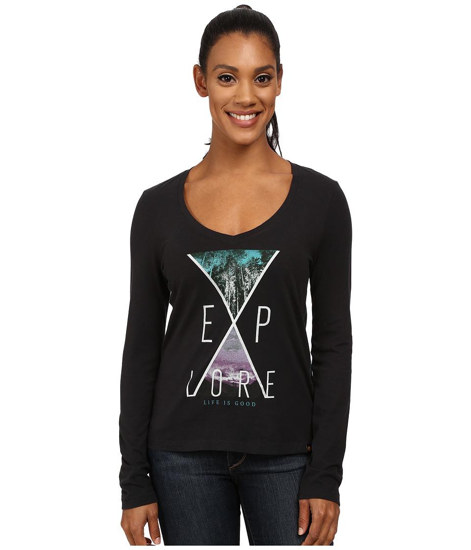 Life is good - Newbury Long Sleeve Tee (Night Black 2) Women's Long Sleeve Pullover