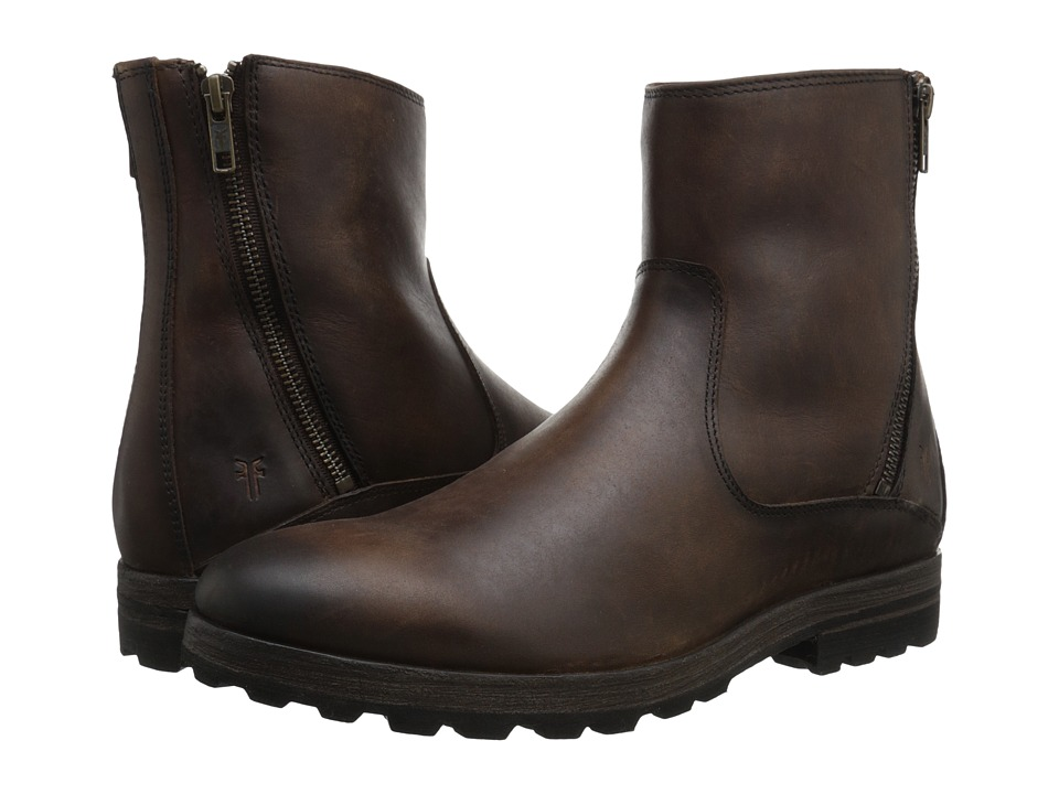 Frye - William Lug Zip (Dark Brown WP Soft Pebbled Full Grain) Men's Zip Boots