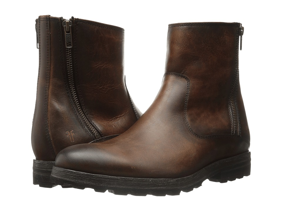 Frye William Lug Zip (Whiskey WP Soft Pebbled Full Grain) Men