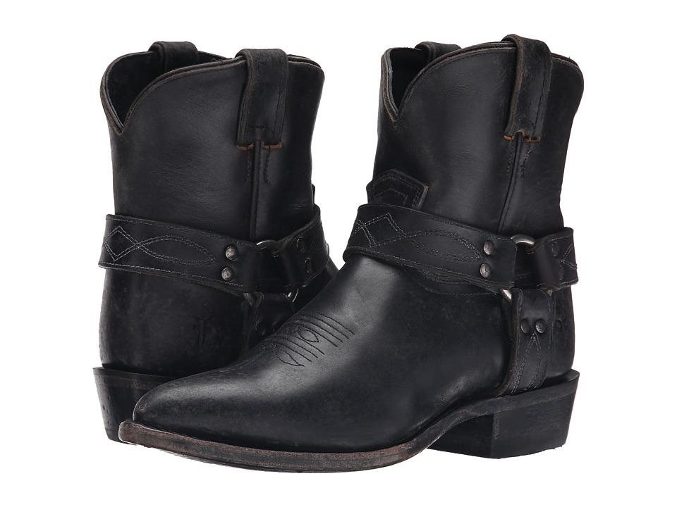 Frye - Billy Harness Short (Black Smooth Stone Wash) Cowboy Boots