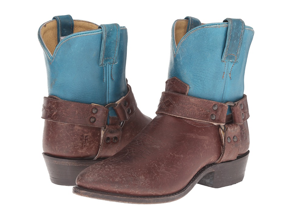 Frye - Billy Harness Short (Turquoise Multi Smooth Full Grain/Smooth Pull Up) Cowboy Boots