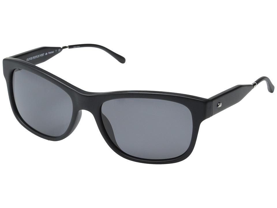 Oliver Peoples West - Huntley (Matte Black/Flint Polarized) Fashion Sunglasses