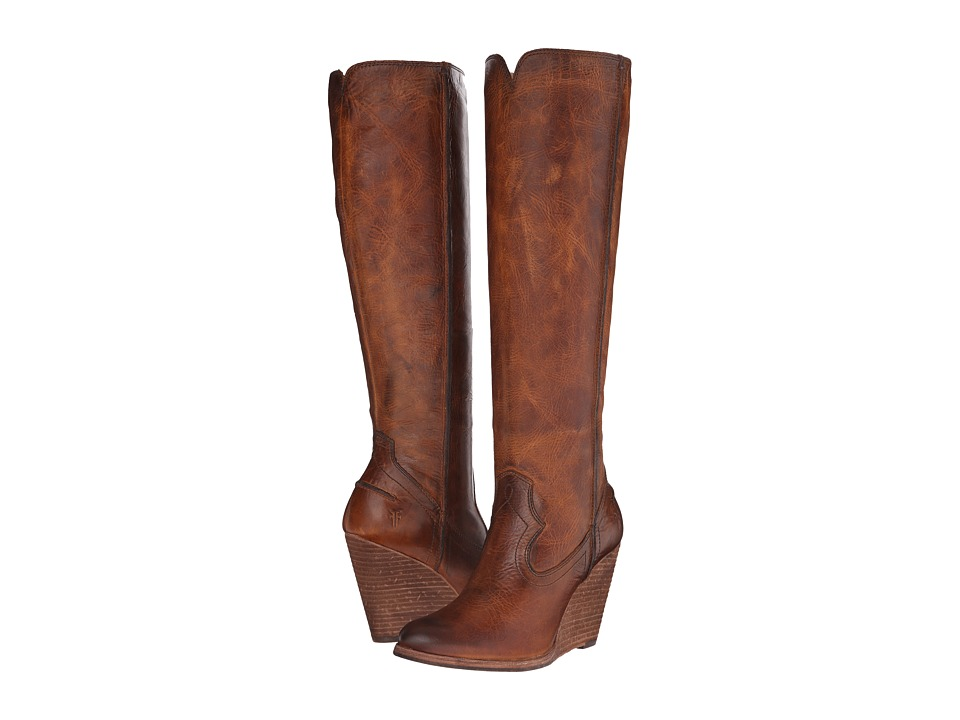 Frye Cece Seam Tall (Cognac Washed Antique Pull Up) Cowboy Boots