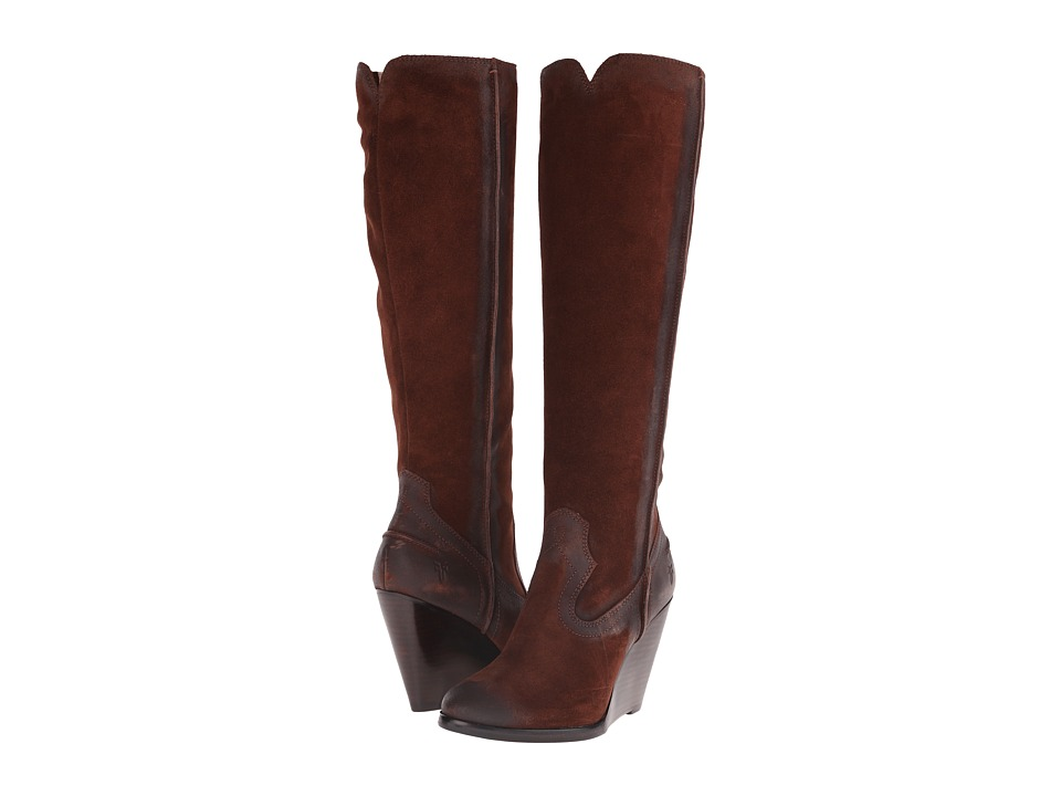 Frye Cece Seam Tall (Brown Oiled Suede) Cowboy Boots