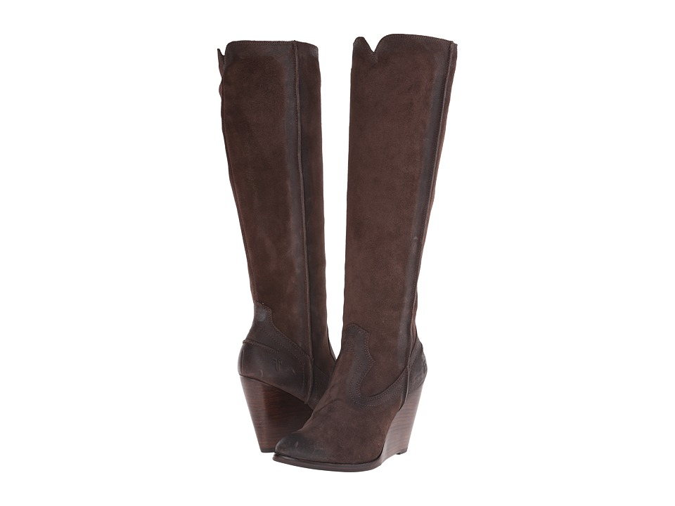 Frye Cece Seam Tall (Charcoal Oiled Suede) Cowboy Boots