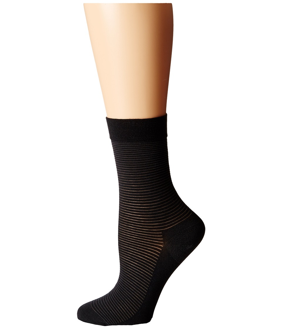 Wolford - Cotton Stripes Socks (Anthracite/Black) Women's Crew Cut Socks Shoes