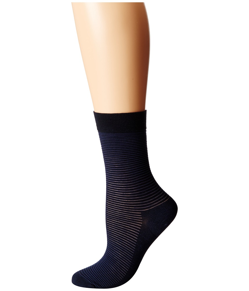 Wolford - Cotton Stripes Socks (Navy/Black) Women's Crew Cut Socks Shoes