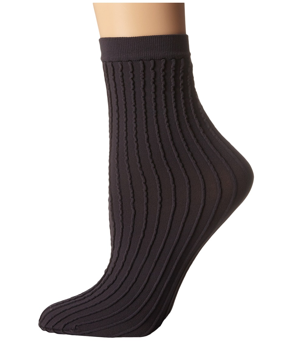Wolford - Stripes Socks (Raven) Women's Crew Cut Socks Shoes
