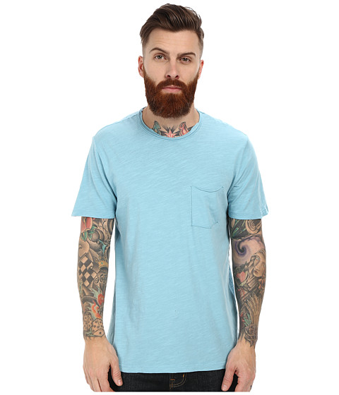 Velvet by Graham & Spencer - Chad Short Sleeve Crew Neck Raw Edge Pocket Slub (Billow) Men
