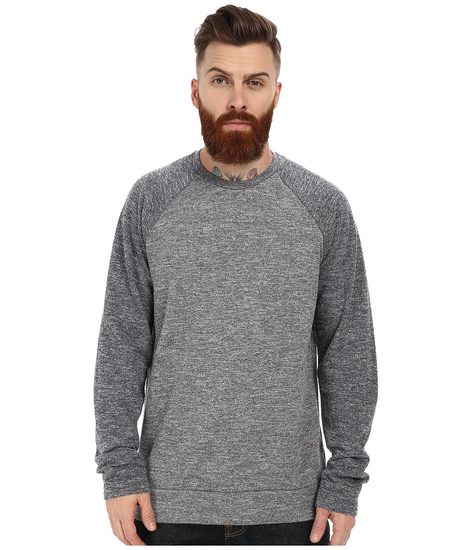 Velvet by Graham & Spencer - Micah Long Sleeve Raglan French Terry Sweatshirt (Charcoal/Denim) Men's Sweatshirt