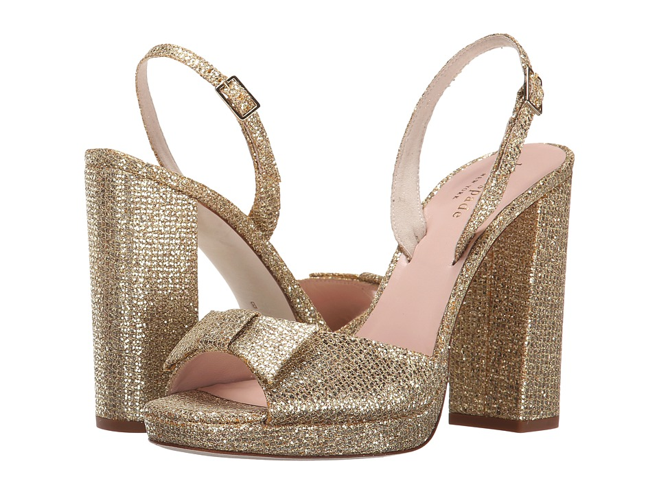 Kate Spade New York - Briana (Gold Starlight Fabric) Women's Toe Open Shoes