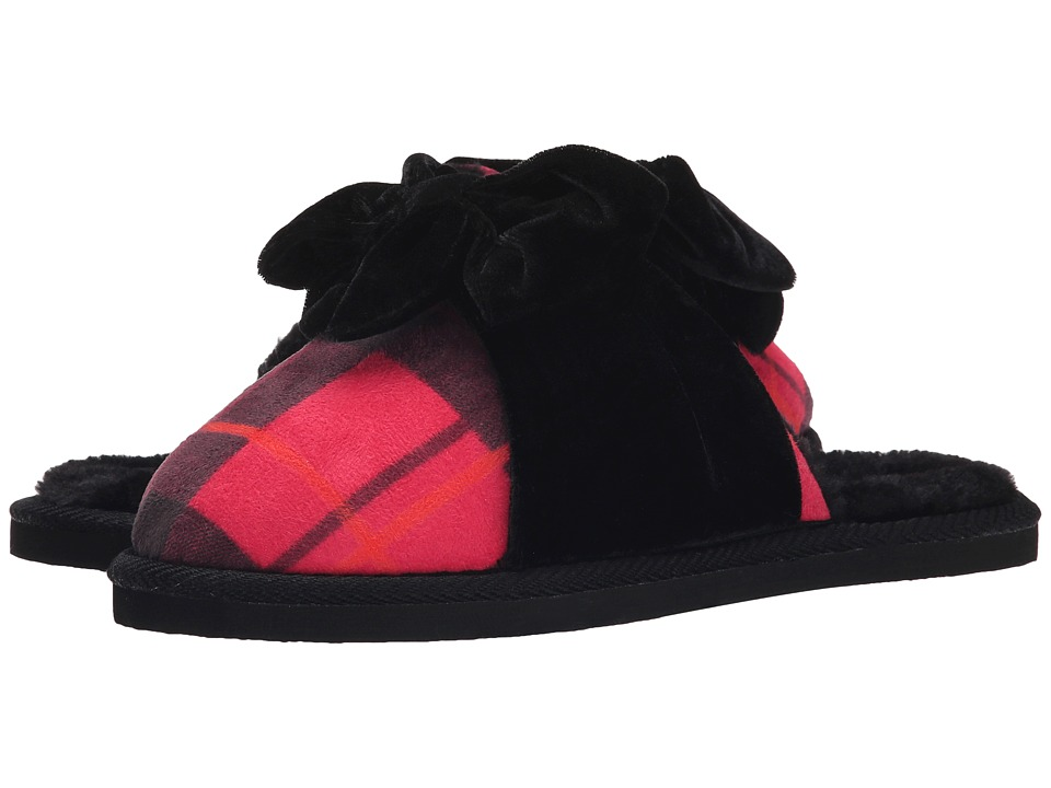 Kate Spade New York - Britney (Black/Red Plaid Microsuede/Black Velvet) Women's Slippers