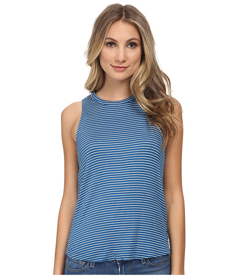 Chaser - St. Barts Striped Drape Back Tank Top (Navy White Stripe) Women's Sleeveless