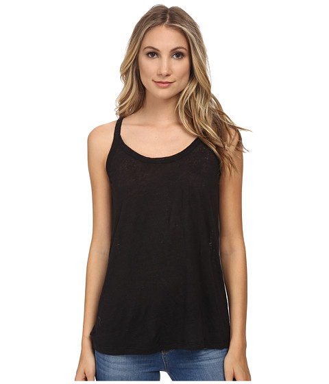 Chaser - V Back Linen Cami (Black) Women