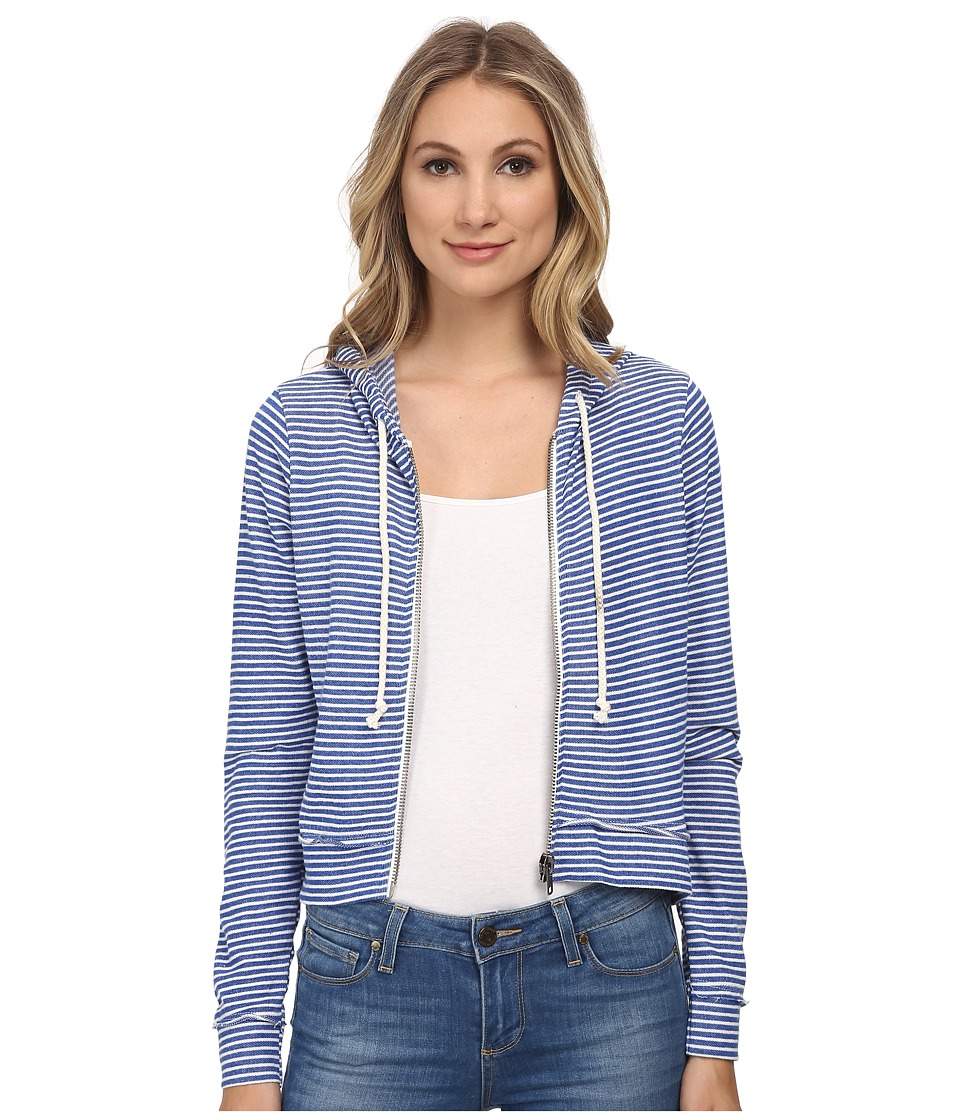 Chaser - Striped Zip-Up Hoodie (Navy Stripe) Women's Coat