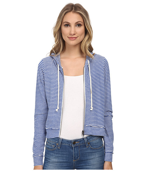 Chaser - Striped Zip-Up Hoodie (Navy Stripe) Women