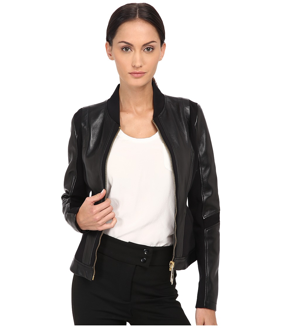 Versace Collection - Leather Jacket (Nero) Women's Coat